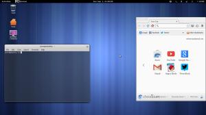 Tampilan terminal (command line) yang elegan dan aplikasi chromium browser
